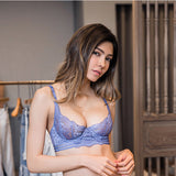 Aria Unlined Transparent Bra Set (Periwinkle)