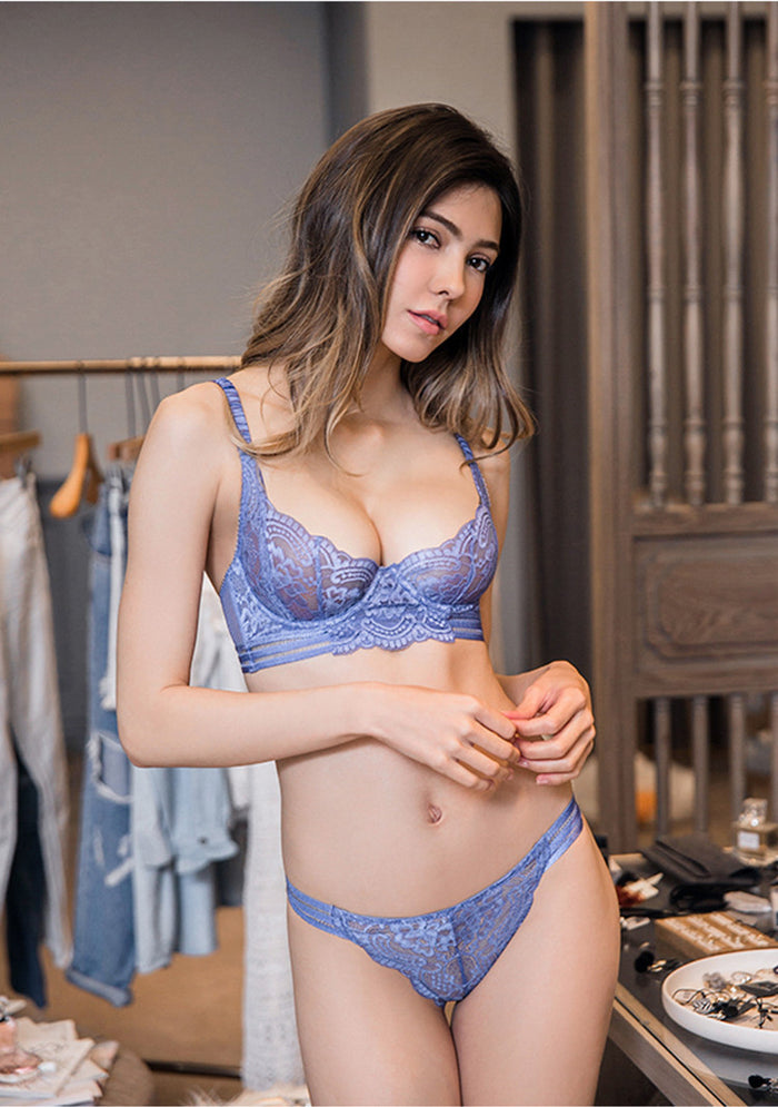 Aria Unlined Transparent Bra and Panty Set (Blue)