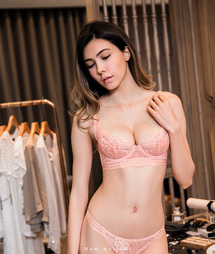 Aria Unlined Transparent Bra Set (Pink)