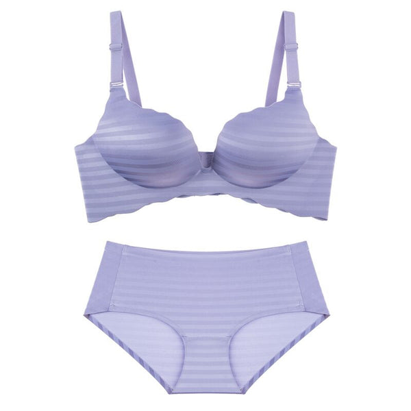 Sleek Chic Push Up Demi Bra Set (Purple)