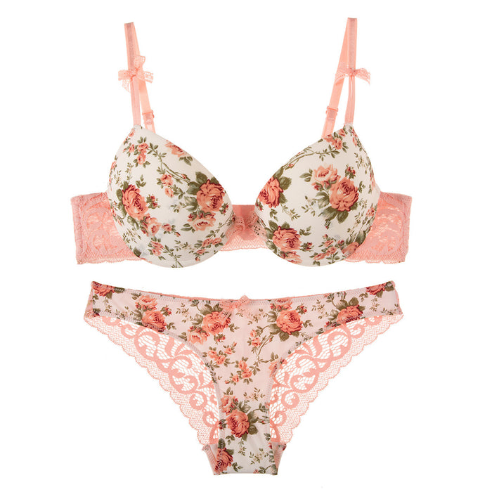 Jolie Floral Printed Demi Bra and Panty Set