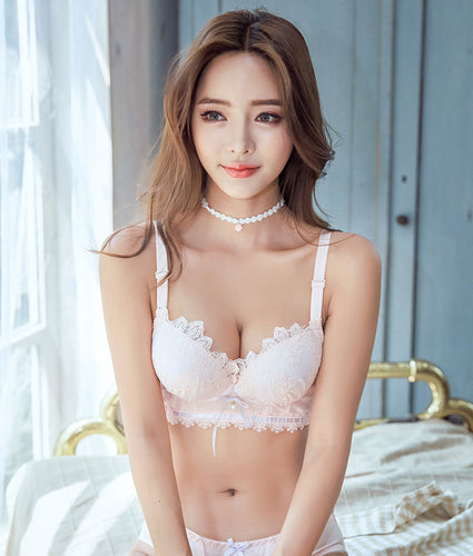 Inner Angel Push-Up Bustier Bra Set (Pink)