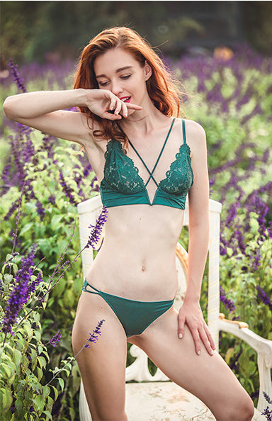 Misa Sheer Bralette Set (Green)