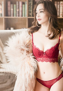 Shirley Transparent Lace Bra Set (Red)
