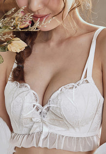 Lydia Push-Up Lace Bra Set (White)