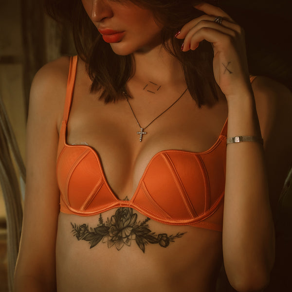 Maybelle Deep Plunge Push Up Bra Set (Orange)