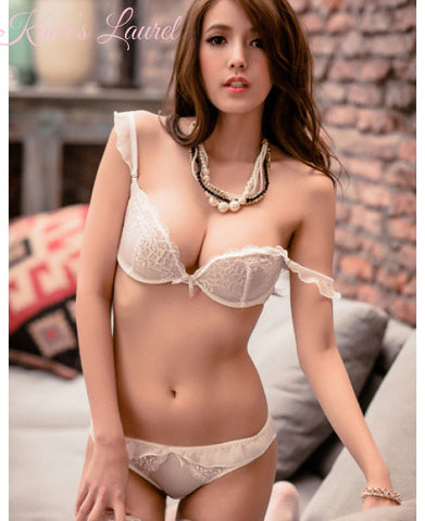 Phoebe Chiffon & Lace Demi Unlined Bra Set (White) - Petite Cherry  - 1