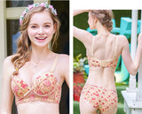Sakura Floral Print Push Up Bustier Bra Set (Cream)