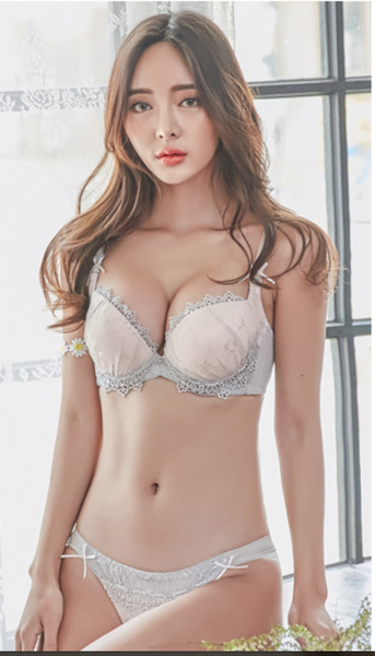 Natalia Lace Push Up Bra Set (Dove Grey)