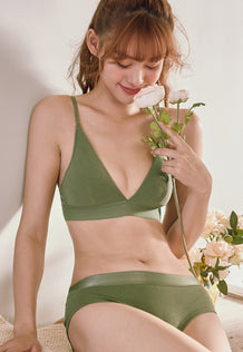Sharon Demi Padded Bra Set (Green)