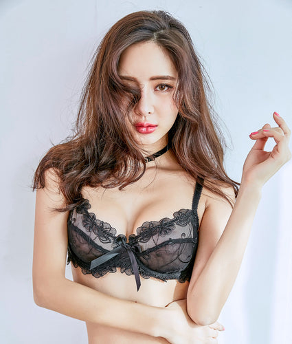 Sonia Unlined Transparent Underwired Bra Set (Black) - Petite Cherry