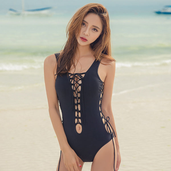 Leah Lace-Up Swimsuit - Petite Cherry