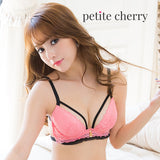 Nicole Strappy Push-Up Bustier-Style Bra Set (Pink) - Petite Cherry  - 5