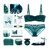 Abigale Padded Balconette Bra Set (Green)
