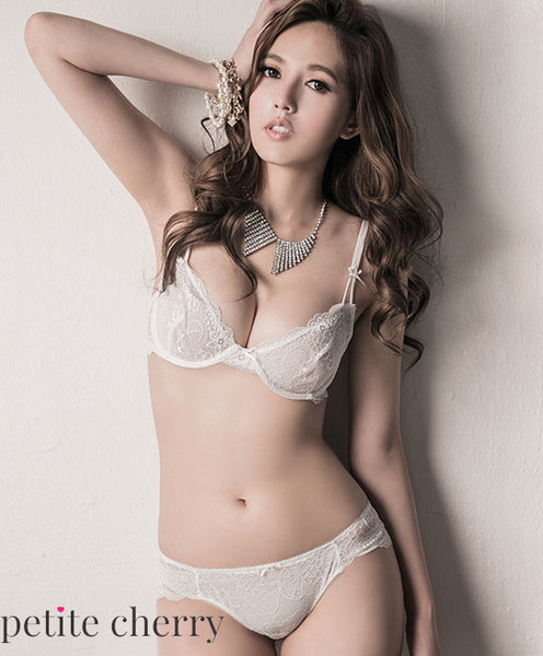 Yuka Unlined Sheer Demi Bra Set (White) - Petite Cherry