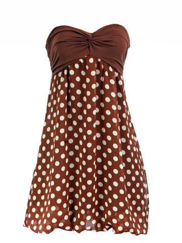 tStrapless Polka Dot Dress by Forever- Brown (Size: S, US4-6, UK6-8) - Bosko