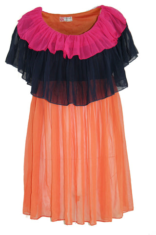 Multicoloured Layered Cape Chiffon Dress (Size: S) - Bosko  - 1