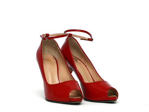 Peep Toe Ankle Strap Pumps by Giuseppe Zanotti- Red (Size: EU39, US8.5) - Bosko  - 1