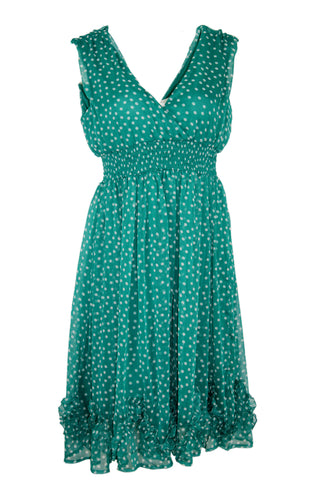 Sleeveless Polka Dot Chiffon Pleat Dress by Candy Box (Size: EU34, S) - Bosko  - 1