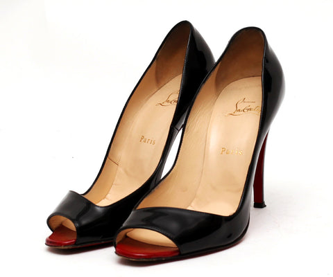 Patent Red Sole Open Toe Pumps by Christian Louboutin - Black (Size: EU41, UK7) - Bosko  - 1