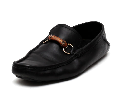 Leather Bamboo Horsebit Loafers by Gucci - Black (Size: US 10, EU 44) - Bosko  - 1