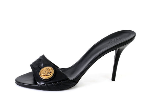 Horsebit heel slide on by Gucci - black accented with gold Gucci brand ornament (Size: EU 41) - Bosko  - 1
