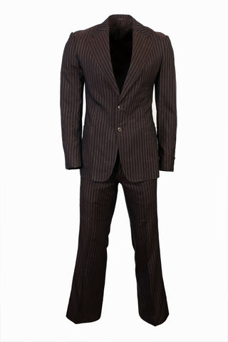 Regular Fit Striped Suit by Gucci- Brown (Size: L) - Bosko  - 1