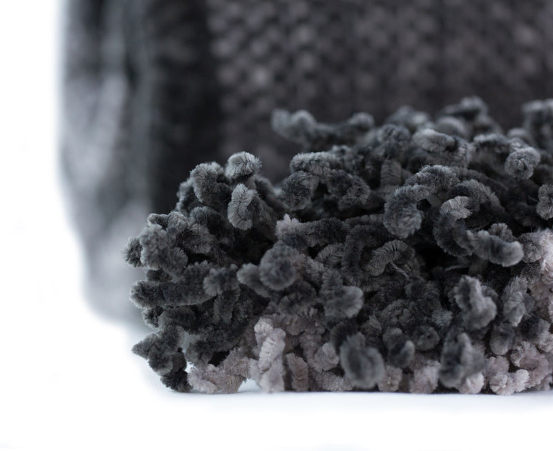 Angus Charcoal Luxury Chenille Soft Throw