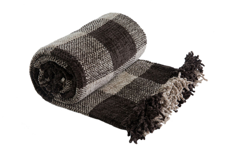 Angus Taupe Luxury Chenille Soft Throw
