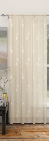 Analise White Embroidered Voile Panel