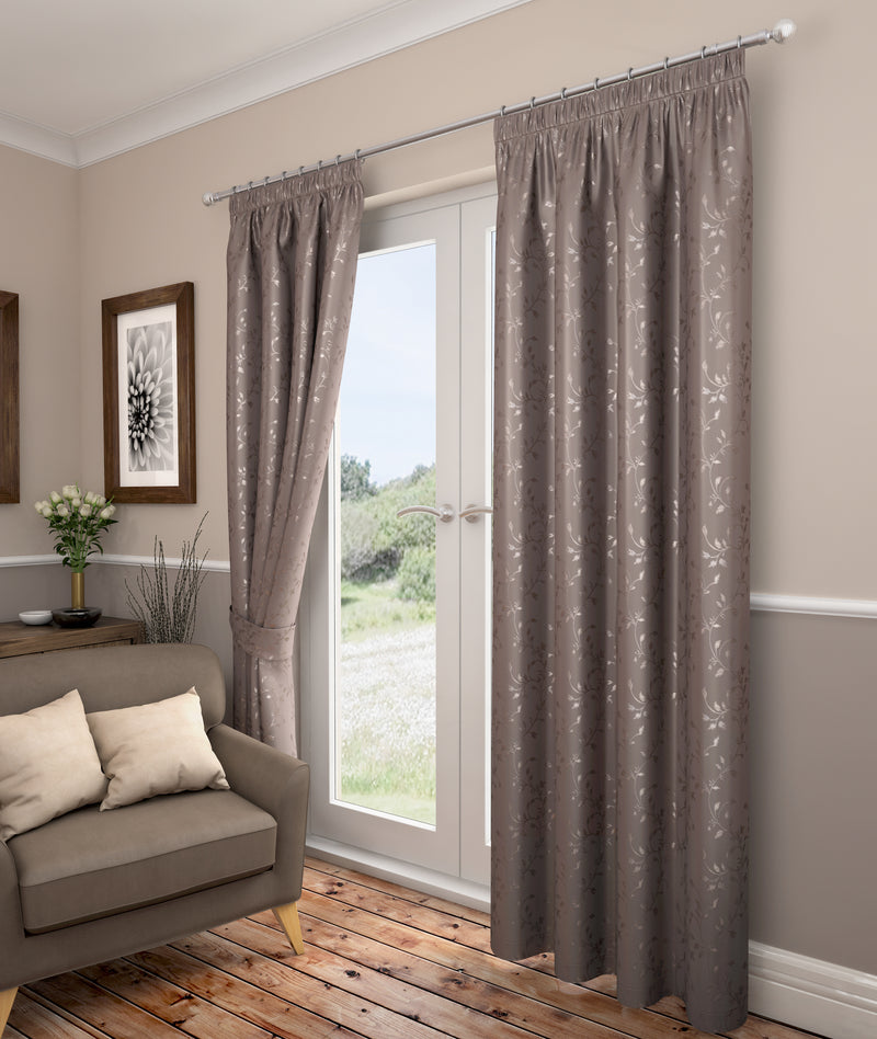 Carlton Taupe Lined Pencil Pleat Curtains