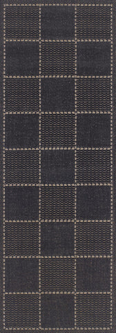 Black anti slip runner flatweave checked design