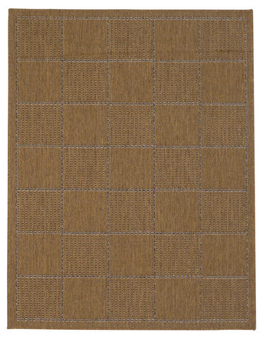 brown anti slip rug checked design