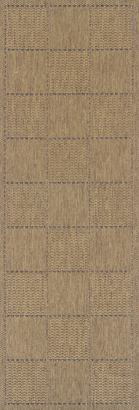 brown anti slip runner checked design