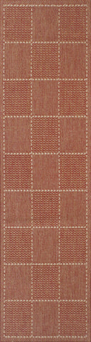 Terracotta Checked Flatweave Anti-Slip Runner