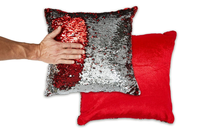 Danni Two Tone Sequin Cushion Cover Red & Silver