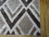 Velvet Beige Brown Shaggy Rug