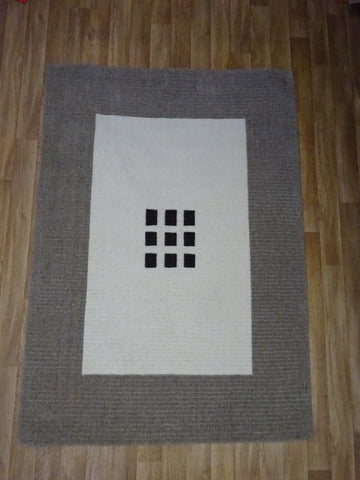 Natural Focus Brown & Cream Rug 100% Wool