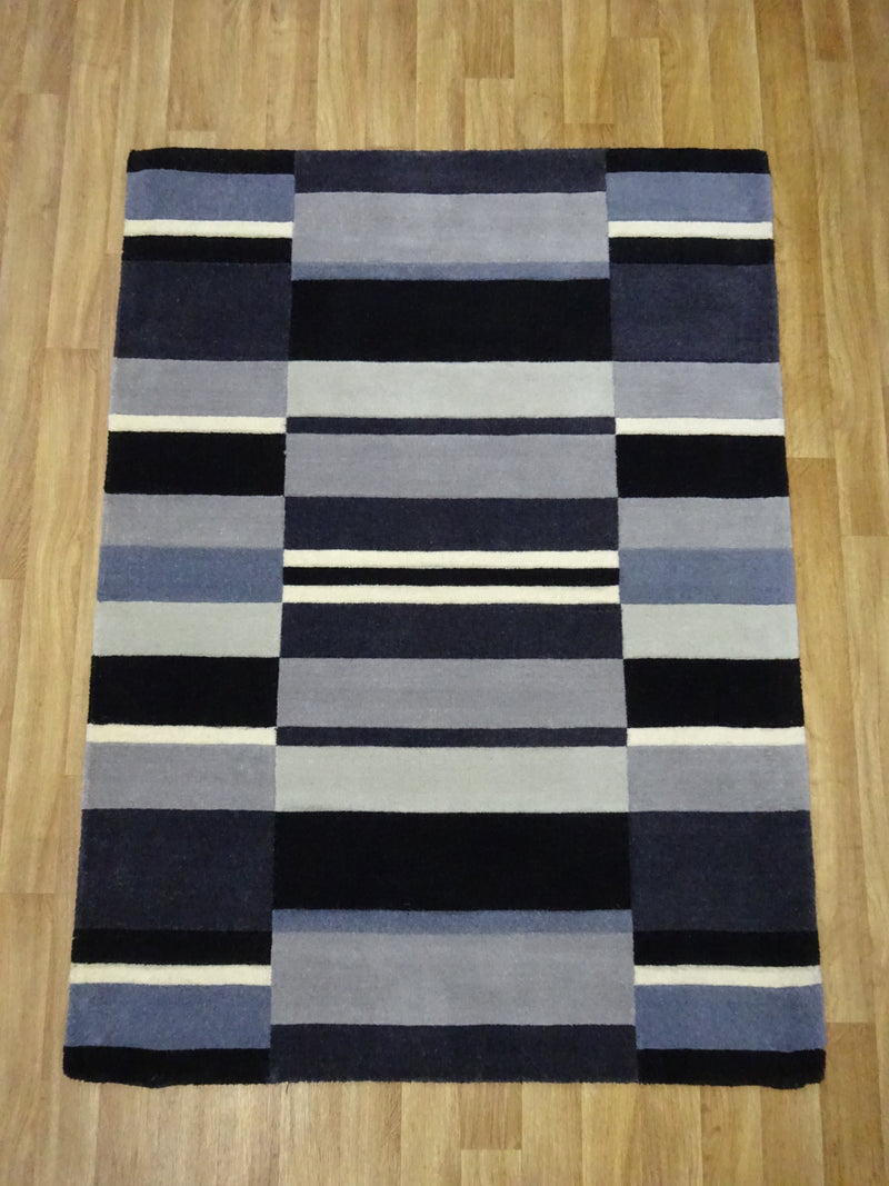 Jazz Blocks Charcoal Rug 100% Wool 120 x 170 cm 4' x 5'7""