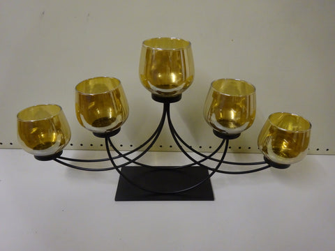 Hestia Black Metal Candle Holder 5 Amber/Gold Glass Cups