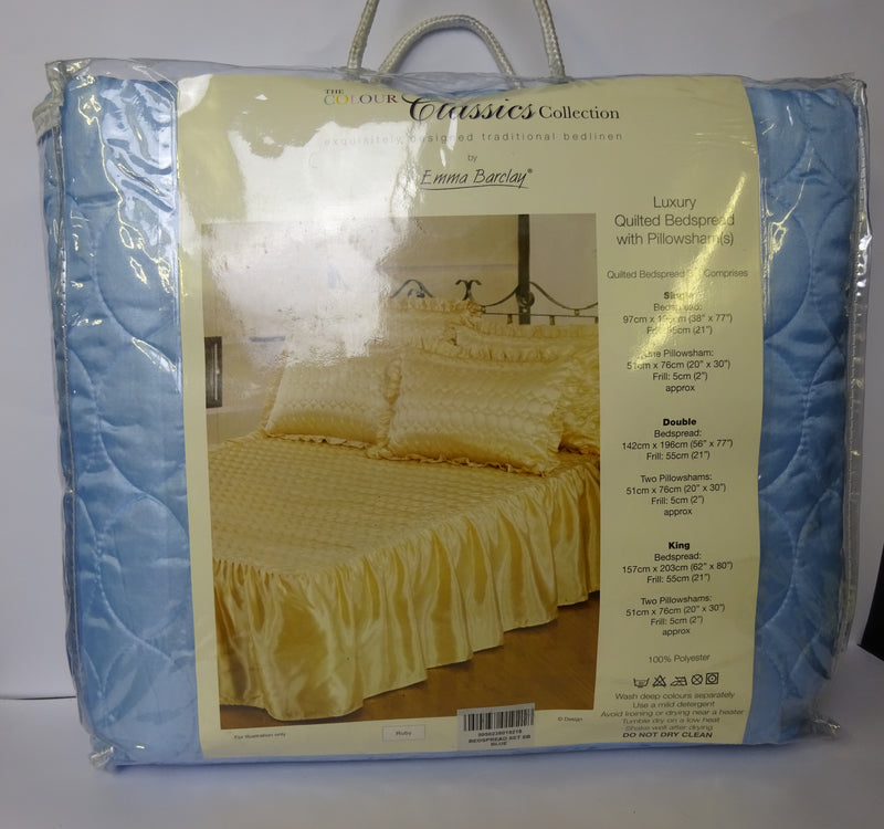 Blue Single Blue Luxury Quilted Bedspread With Pillowsham