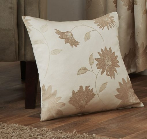 Floral Jacquard Cushion Cover in Cream