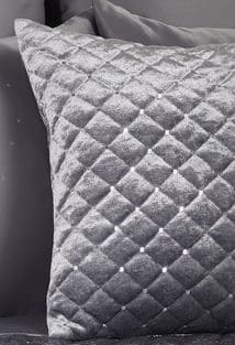 Glamour – Quilted Sequin Velvet Cushion Cover in Silver