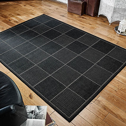 Black Flatweave Anti-slip Rug