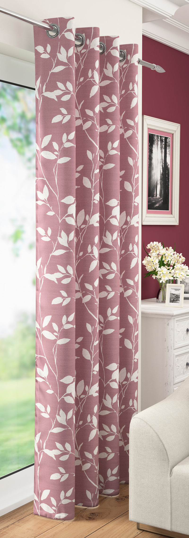 Blush Laurel Floral Leaf Voile Leaves Voile Net Curtain Eyelet Ring Top Single Panel