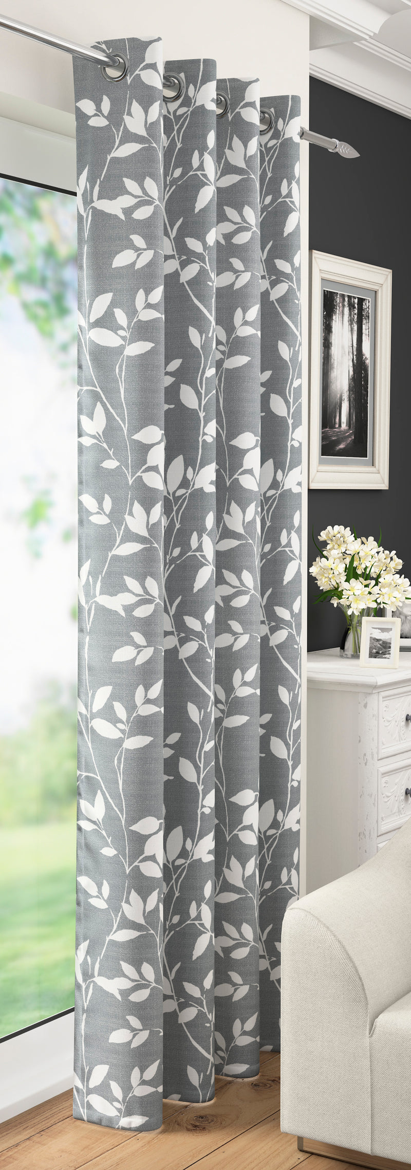 Grey Laurel Floral Leaf Voile Leaves Voile Net Curtain Eyelet Ring Top Single Panel