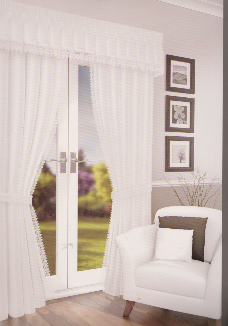 Pair Of White Voile Lined Curtains including tiebacks