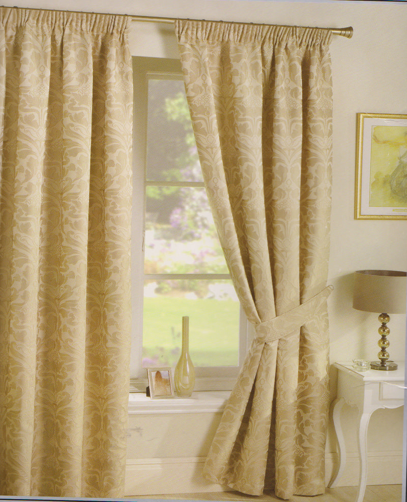 "Luxury Natural Coloured Crompton Curtains 66"" x 90"""