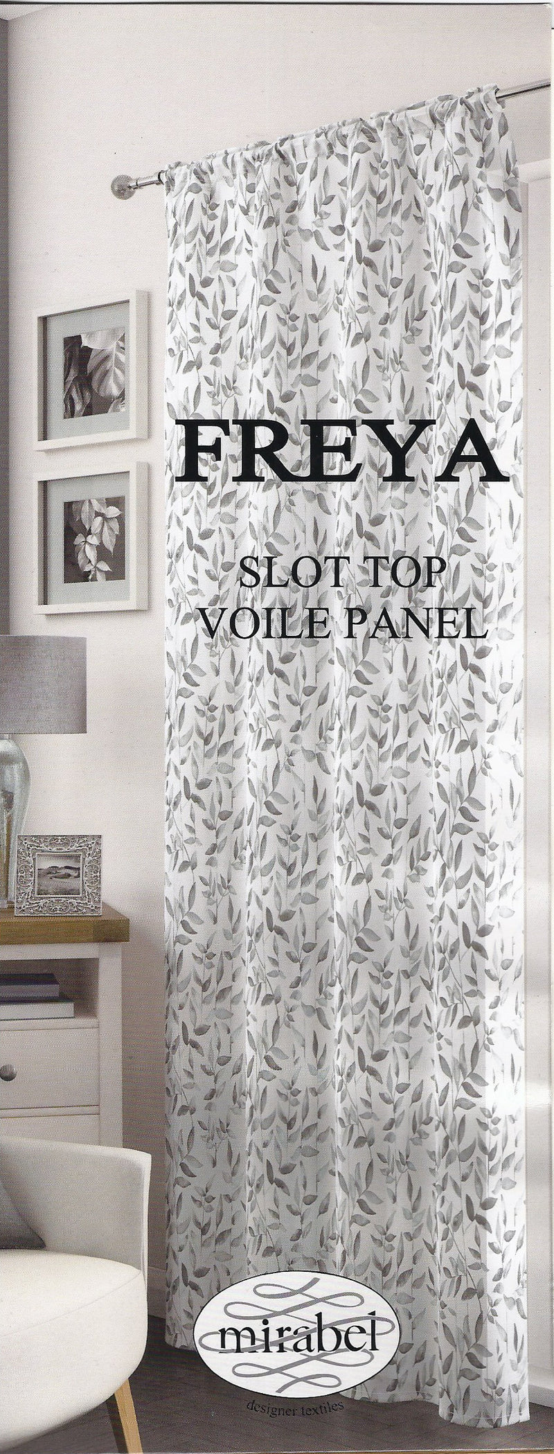 FREYA Rose Ready Made Voile Panel Floral Leaf Effect