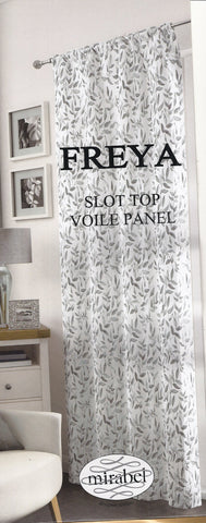 Grey Freya Ready Made Voile Panel Floral Leaf Effect